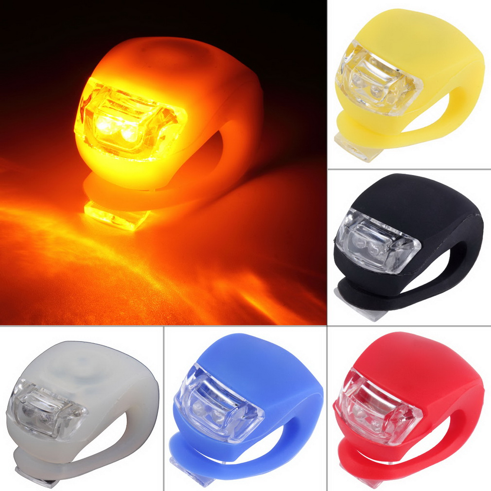 LED Bicycle Bike Cycling Silicone Head Front Rear Wheel Safety Light L..