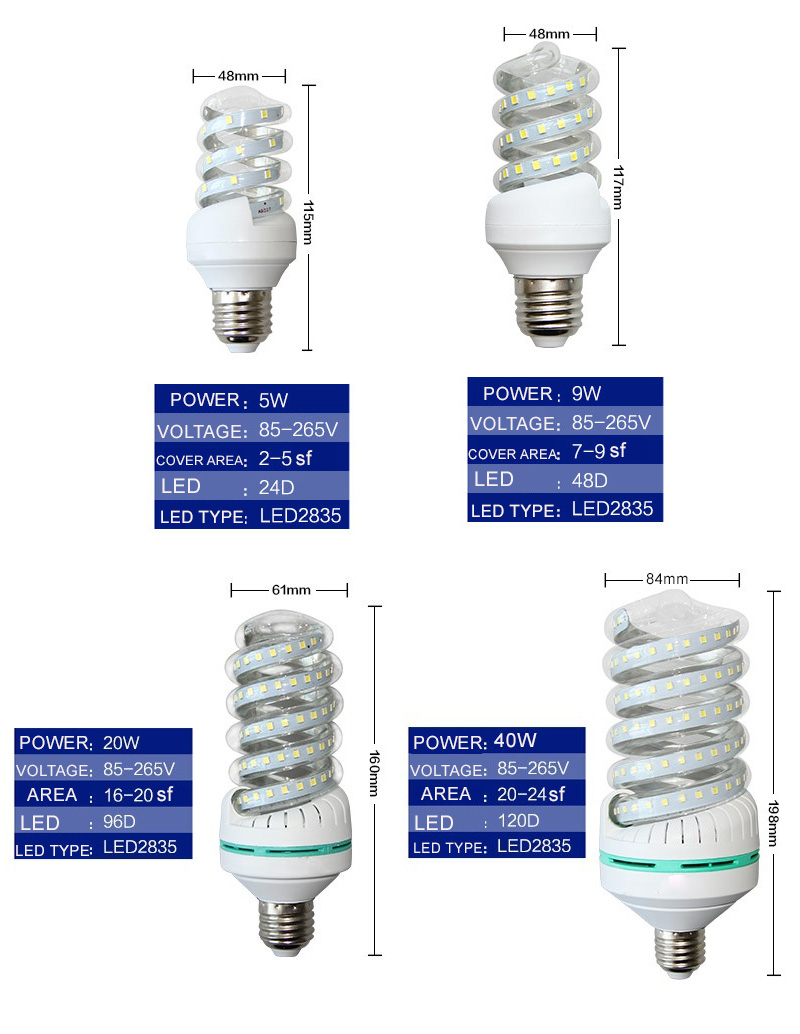 LED Bulb-Spiral 90% Energy Saving Bulbs 5w 9w 20w 40w