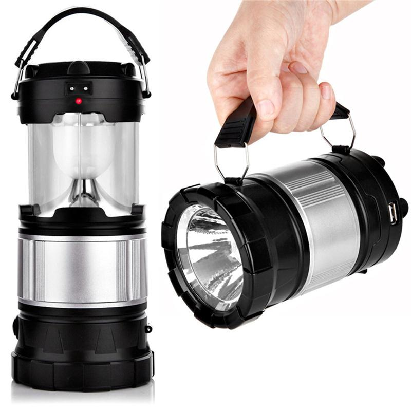 LED Camping Lantern Solar Lamp Lights Handheld Flashlights with Rechar