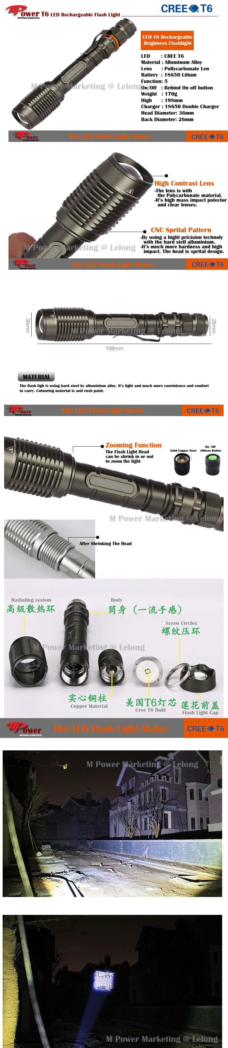 LED Flashlight Torchlight Zoomable Waterproof Torch Light-SKU T01