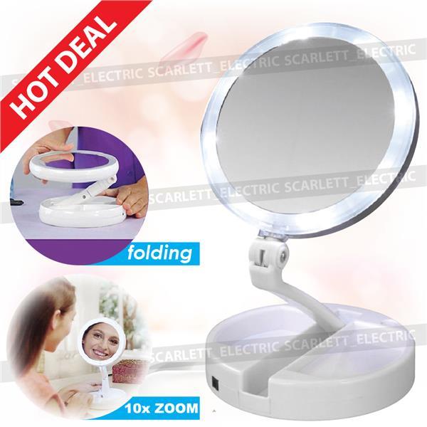 Led Folding Vanity Make Up Travel Mirror 2 Side 10x Plus 1x Magnifying