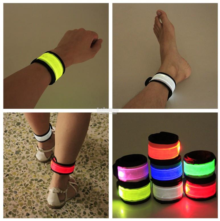 Led Glow Arm Leg Band Wrist Strap Snap Bracelet Battery Operated