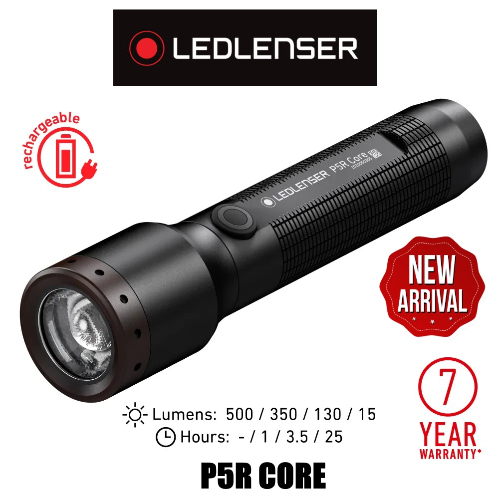 LED Lenser P5R CORE 500 Lumens 250 Meters Rechargeable Flashlight