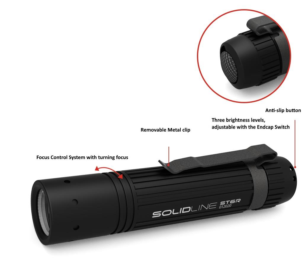 Led Lenser Solidline Series ST6R 800LM Rechargeable Flashlight Torch