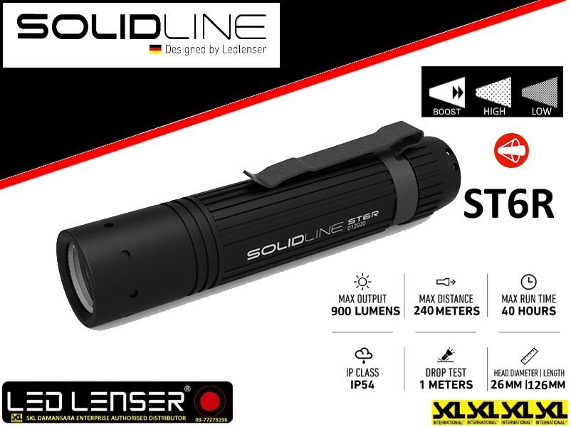 Led Lenser Solidline Series ST6R 900LM Rechargeable Flashlight Torch