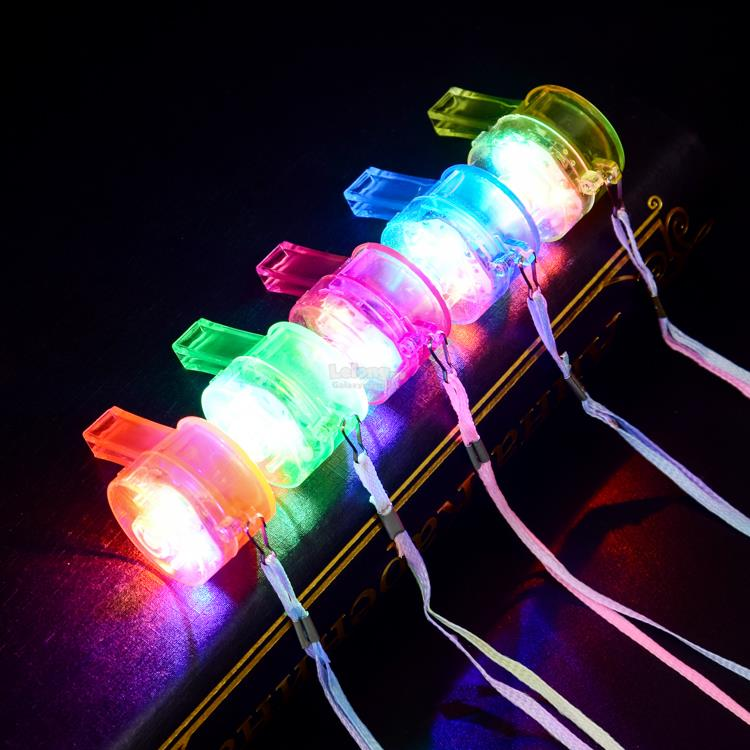 LED Light Glow Colorful Flashing Whistles-DJ Party Night Concert Run