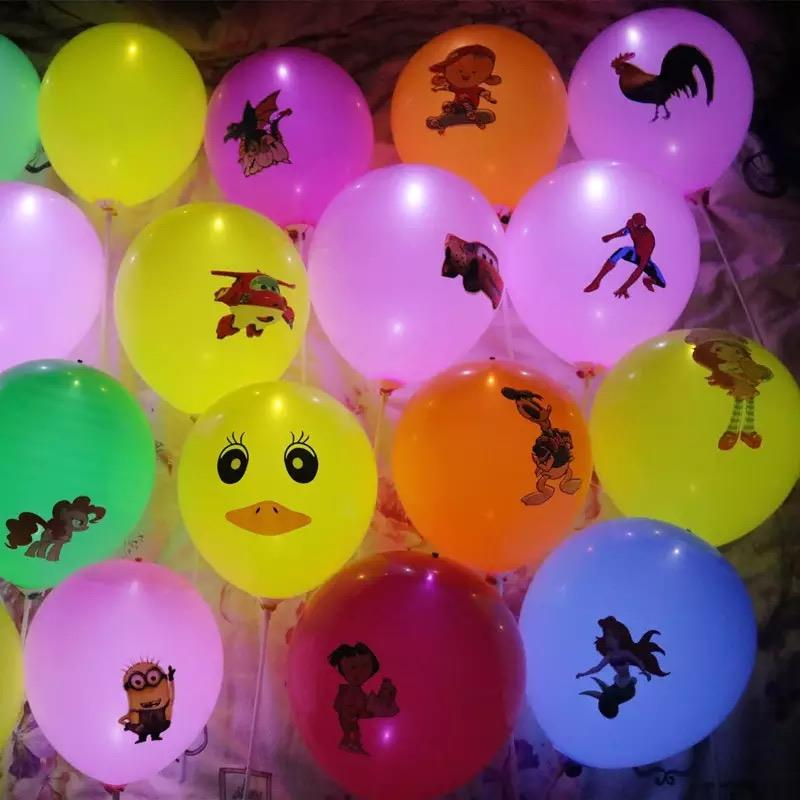 LED Light Printed Balloon 10pcs in 1set (Character theme)