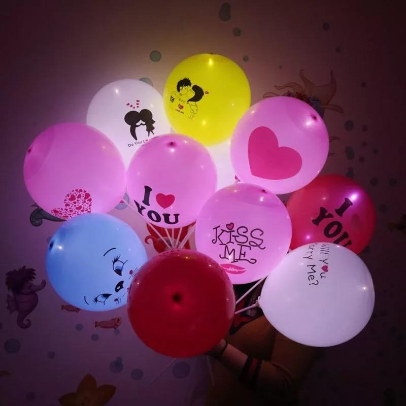 LED Light Printed Balloon 10pcs in 1set (Love theme)