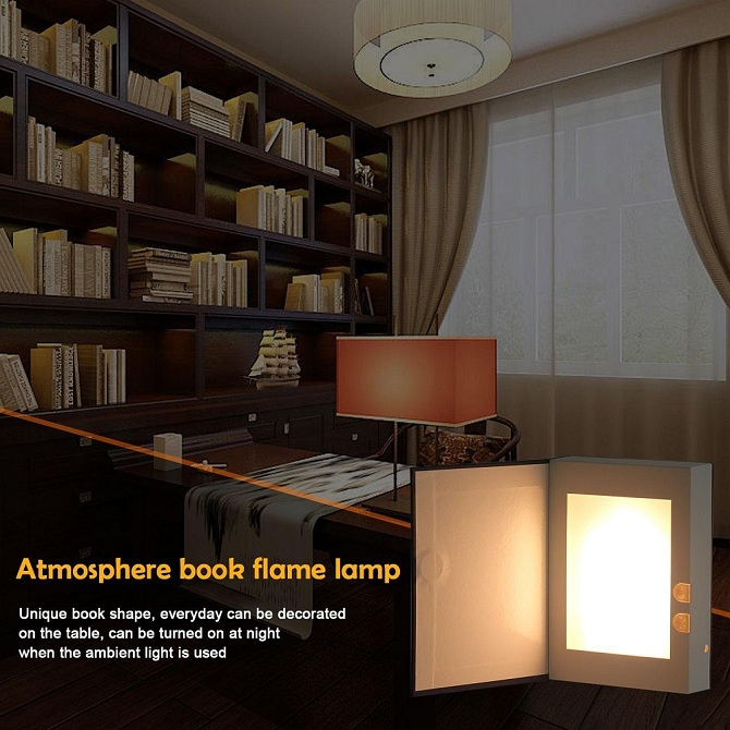 2 Lamp Rechargable Ta Folding Book Light Desk Led Flame Night Magic Shape Mode Rj3A54Lq