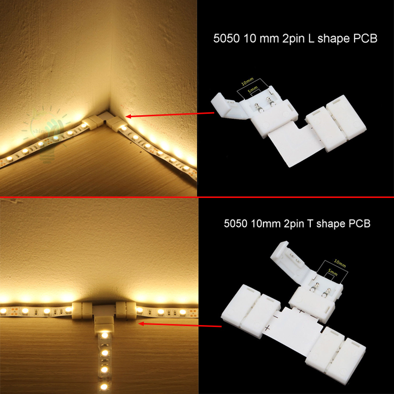 LED Strip Clip Connector 2 pin 4 pin RGB 5050 L T Stripe Lampu LED