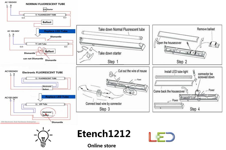 Convert Fluorescent To Led Wiring Diagram on 2 l t8 ballast wiring diagram