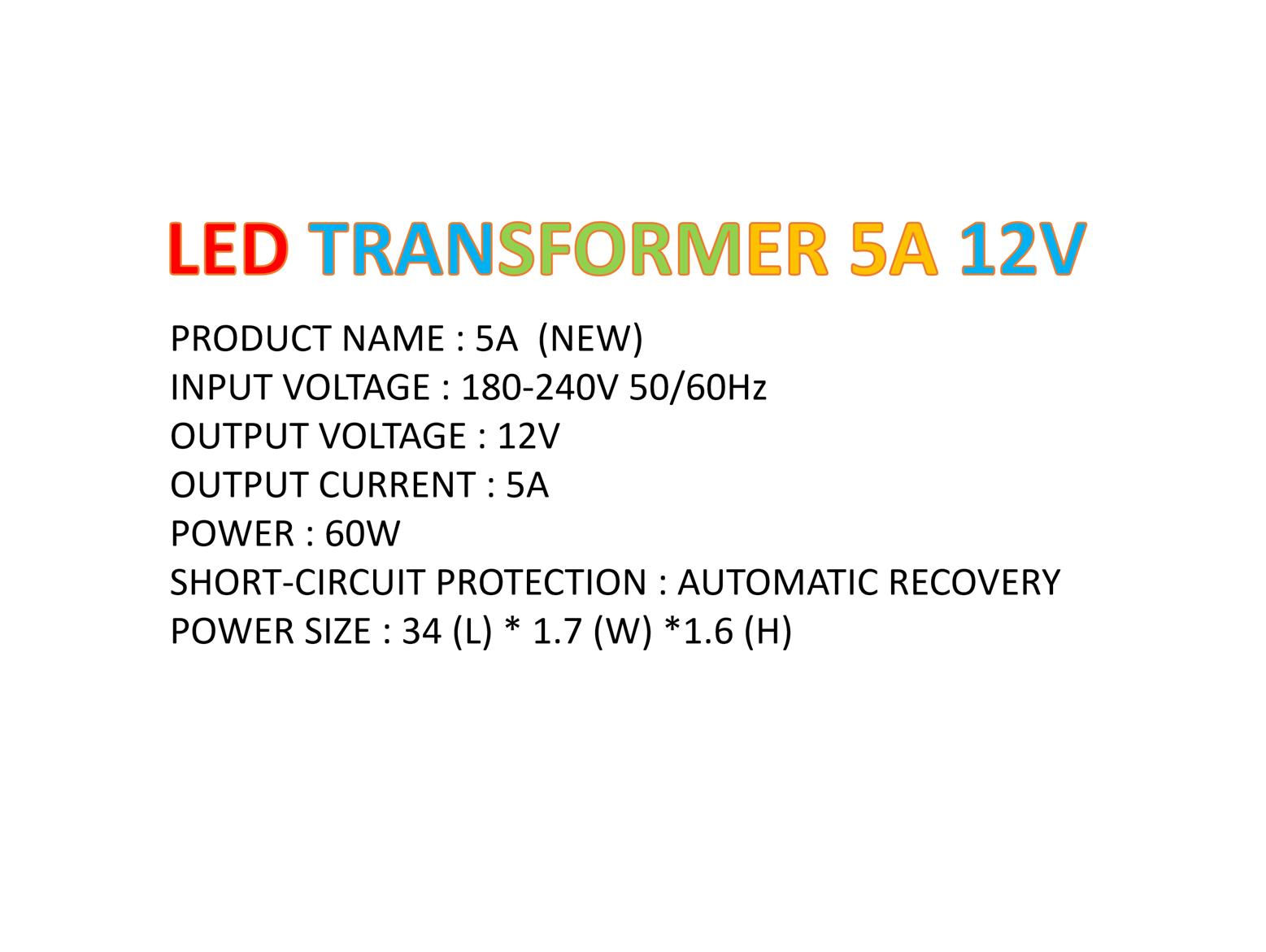 LED TRANSFORMER 12V 5A 60W - 10 PIECES + FREE SHIPPING