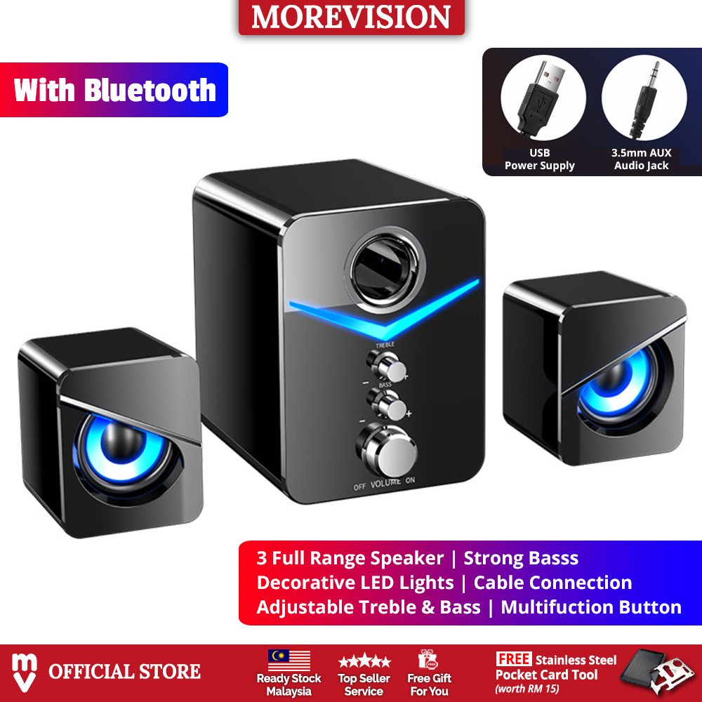 LED USB Speaker Set with Bluetooth Strong Bass Stereo Subwoofer Wired