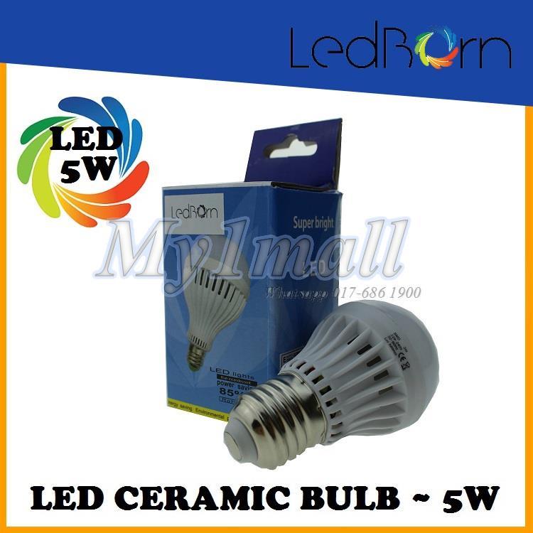 LedBorn LED Bulb Ceramic Body 5W E27 Daylight (White)
