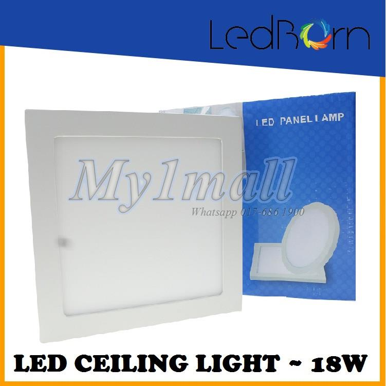 LedBorn LED Ceiling Light 18W Surface Mount Square Daylight (White)