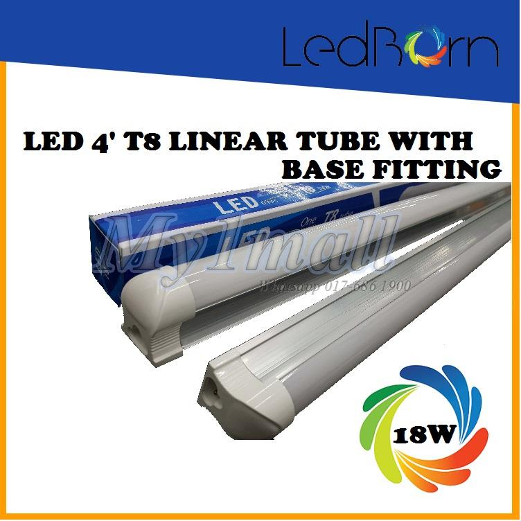 LedBorn LED T8 Tube 4feet 18W - Daylight With Base Fitting
