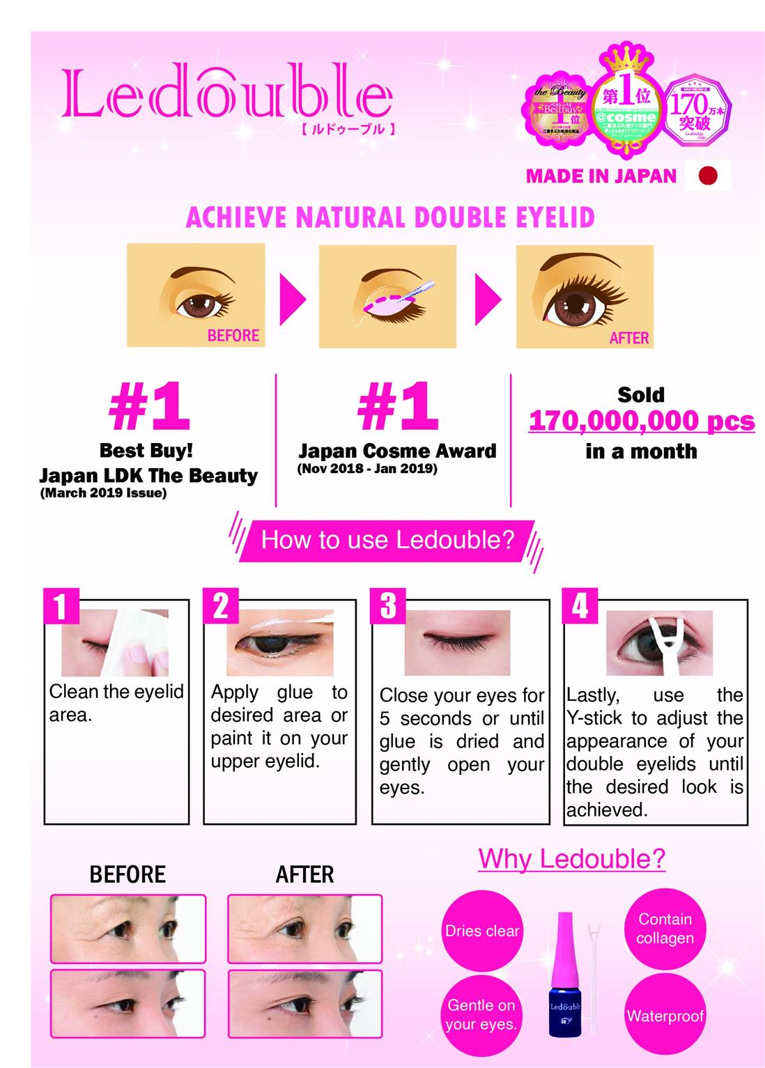 Ledouble (Double Eyelid Liquid @cosme No.1 2017-2019) 2ml