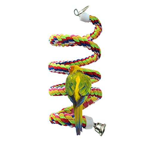 Lee-buty 2pcs 63in Bird Perch Rope Bungee Bird Toy Pure Natural Parrot Toy Cag