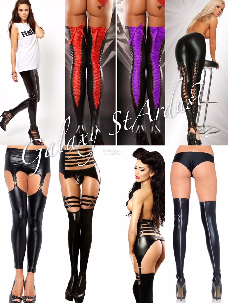 Legging Latex PVC Pants Faux Leather,Open Crotch,Tight Lace,Back Zip