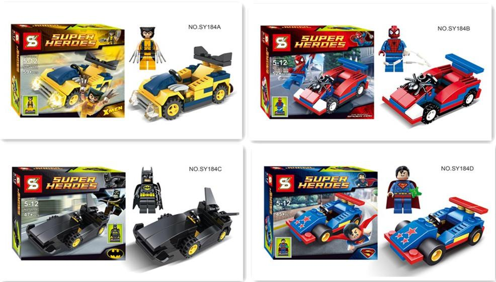 LEGO Compatible S Brand 4 Boxes SuperHero with Vehicle(SY184ABCD)