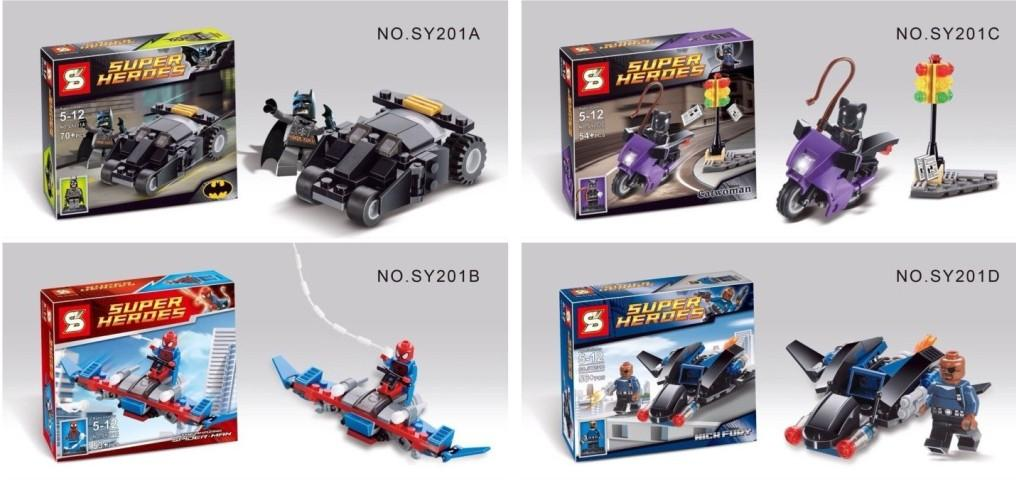 LEGO Compatible S Brand 4 Boxes SuperHero with Vehicle(SY201ABCD)