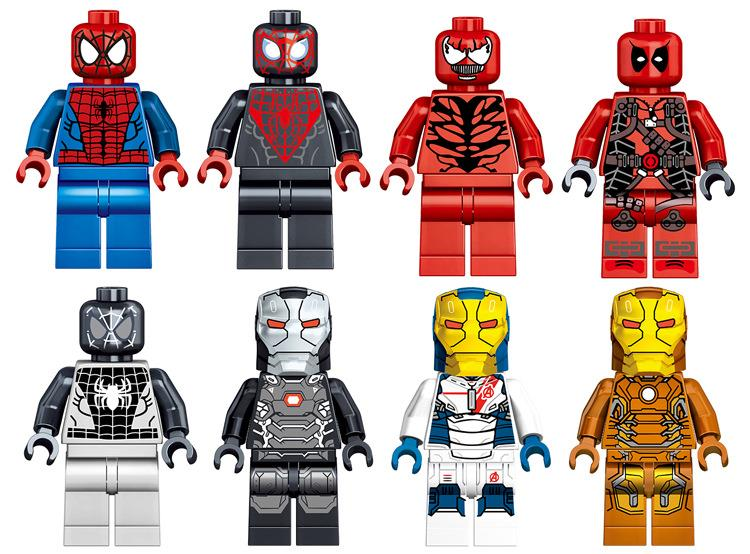 LELE 34009 SPIDERMAN & IRONMAN  8 IN 1  lego compatible  minifigure