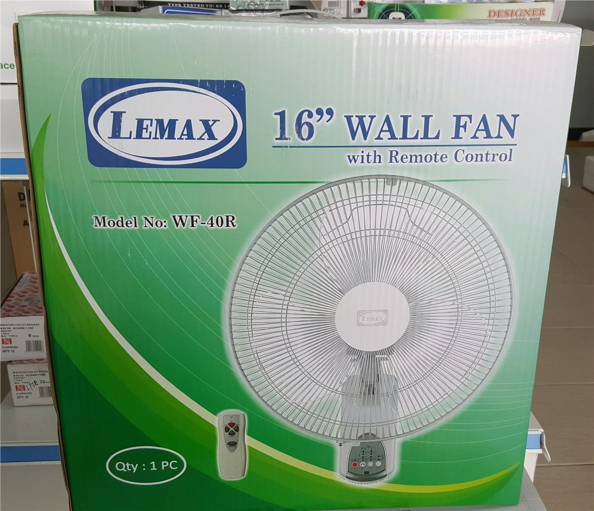 LEMAX 16INCH FIGURE 8 OSCILLATION WALL FAN WITH REMOTE CONTROL