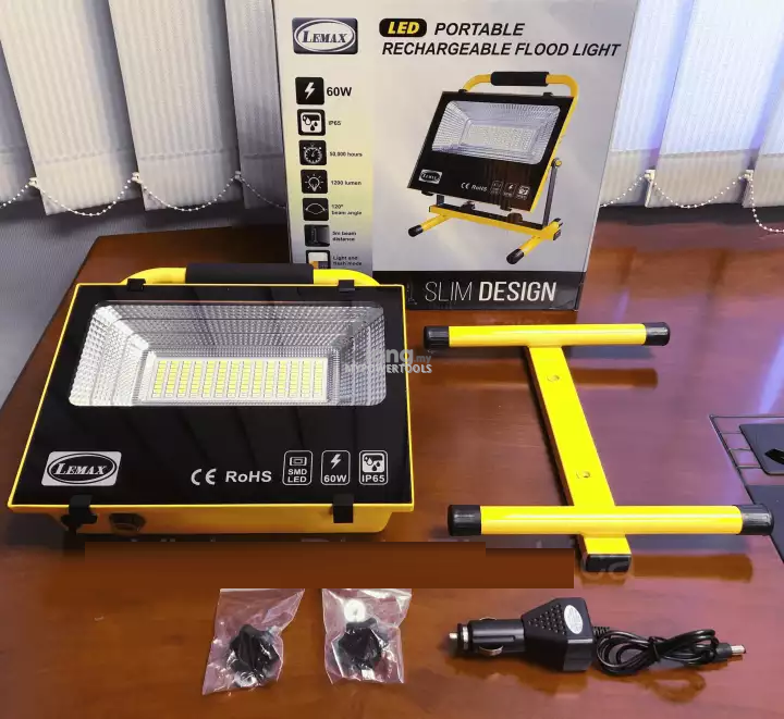 Lemax 60W Daylight 6400K Rechargeable Portable LED Flood Light