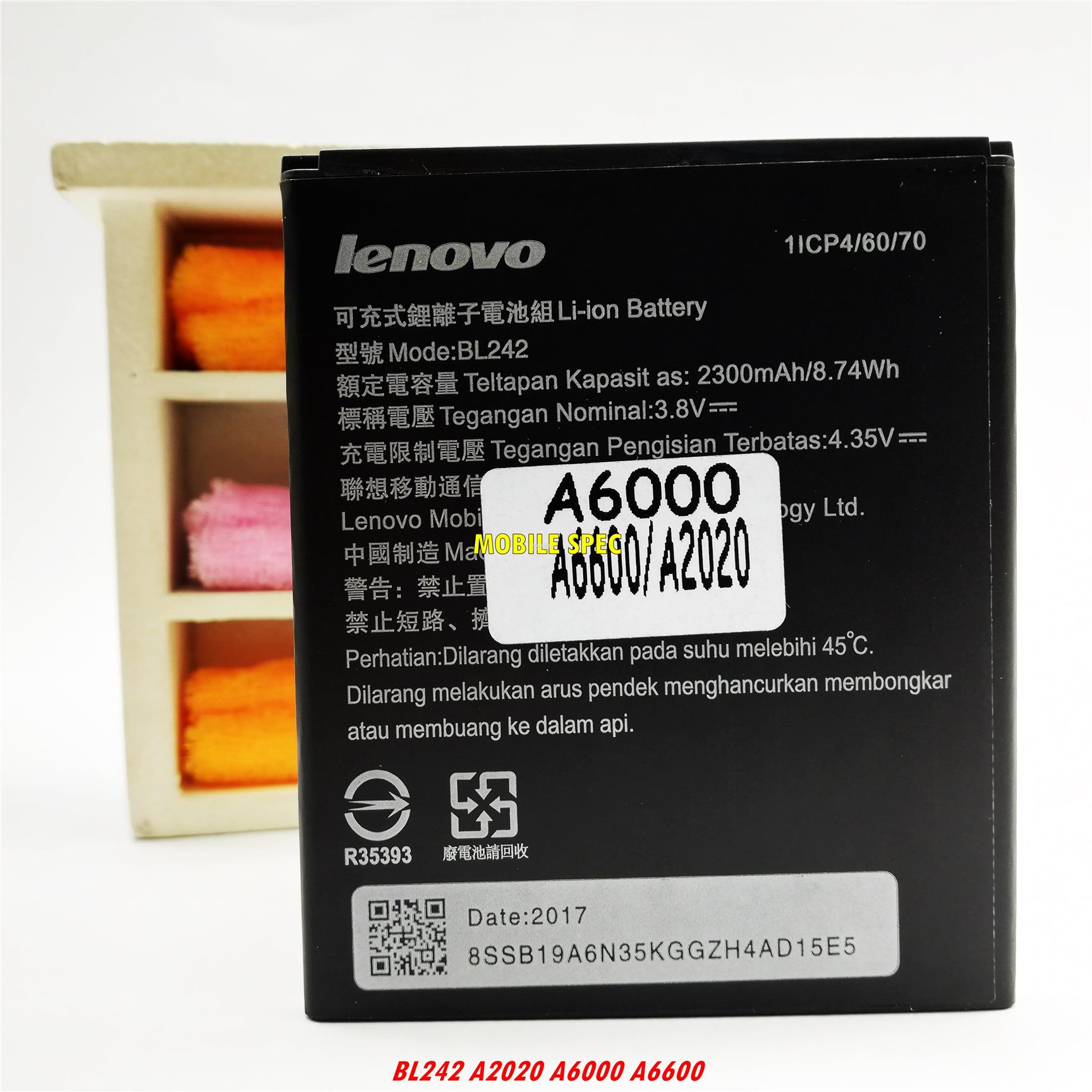 Lenovo BL242 A2020 A6000 A6600 Replacement Battery 2300mAh
