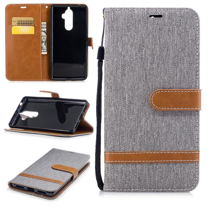 Lenovo K8 Note Fabric Jean Flip wallet card slot case casing cover