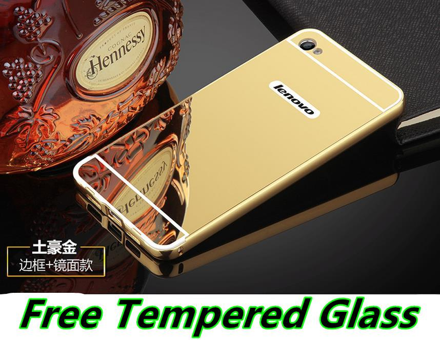 Lenovo Sisley S90 24K Metal Mirror Case Cover Caing + Tempered Glass
