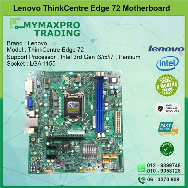 Lenovo Thinkcentre Edge 72 Desktop Motherboard s1155 DDR3 03T6648