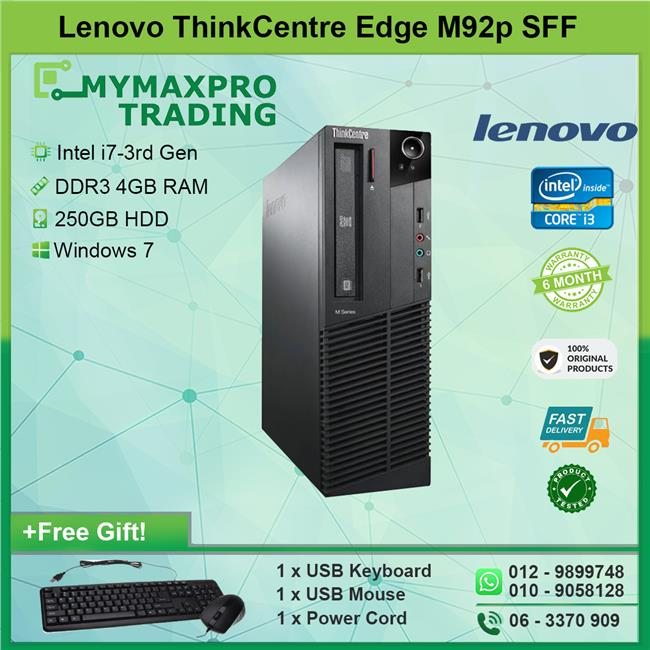 Lenovo ThinkCentre Edge 92 SFF Desktop i7-3rd Gen 4GB 250GB HDD Win7
