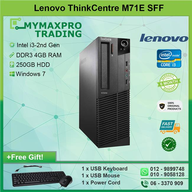 Lenovo ThinkCentre M71e SFF i3-2nd Gen 4GB 250GB HDD Win 7 Desktop