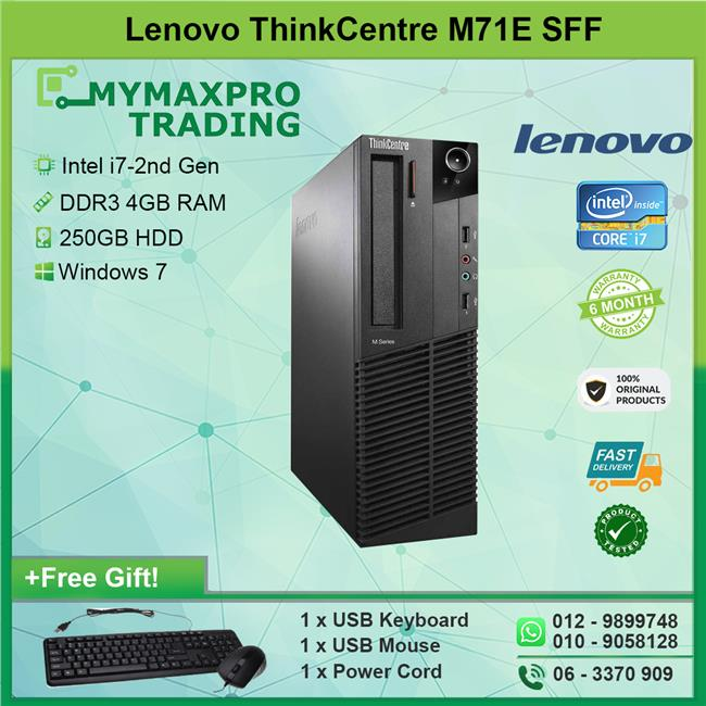 Lenovo ThinkCentre M71e SFF i7-2nd Gen 4GB 250GB HDD Win 7 Desktop