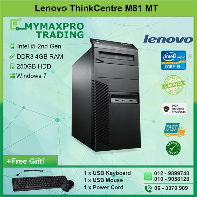 Lenovo ThinkCentre M81 MT i5-2nd Gen 4GB 250GB HDD Win 7 Desktop