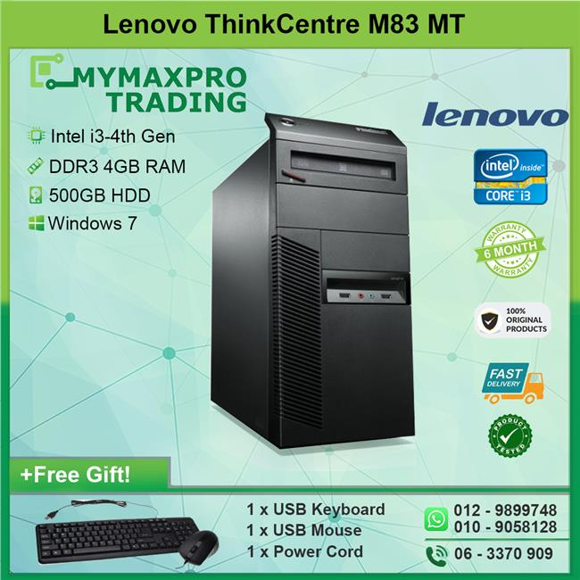 Lenovo ThinkCentre M83 MT i3-4th Gen 4GB 500GB HDD Win 7 Desktop