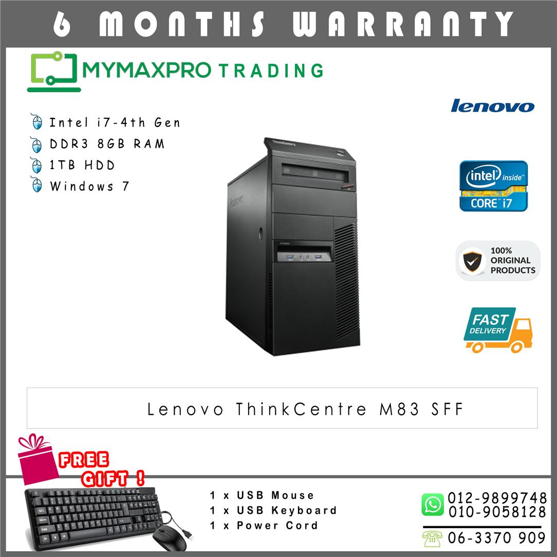 Lenovo Thinkcentre M83 MT intel Core i7-4th Gen 8GB RAM 1TB HDD Win7