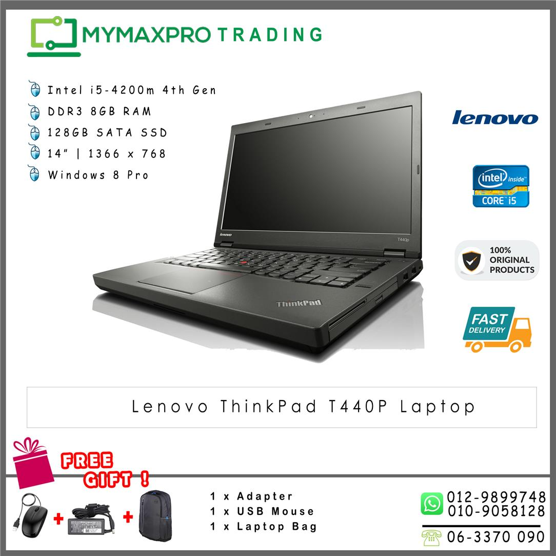 Lenovo ThinkPad T440p i5-4th 8GB 128GB SSD Laptop 1366x768 Notebook