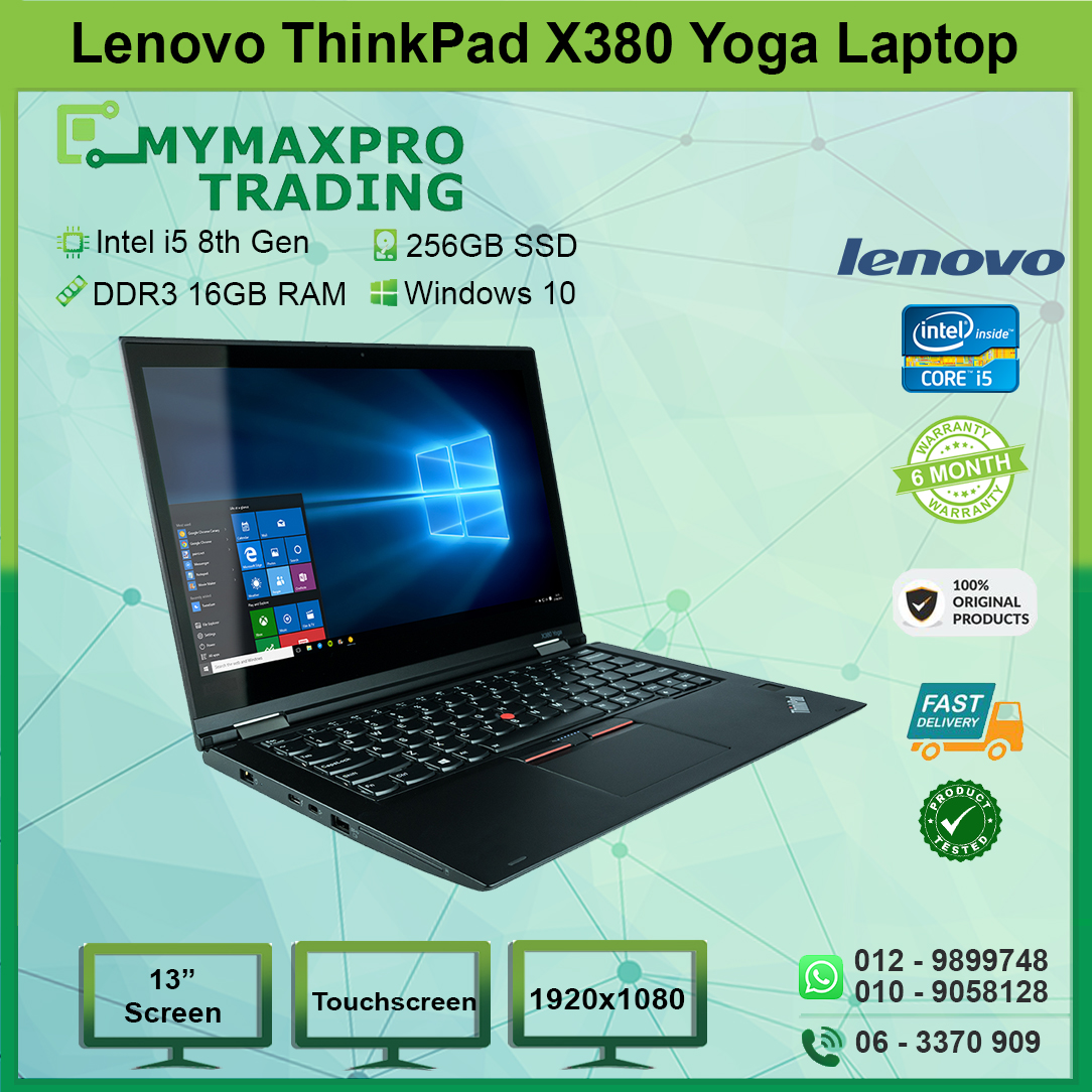 Lenovo ThinkPad X380 Yoga Intel i5 8th Gen 16GB RAM 256GB SSD Win10