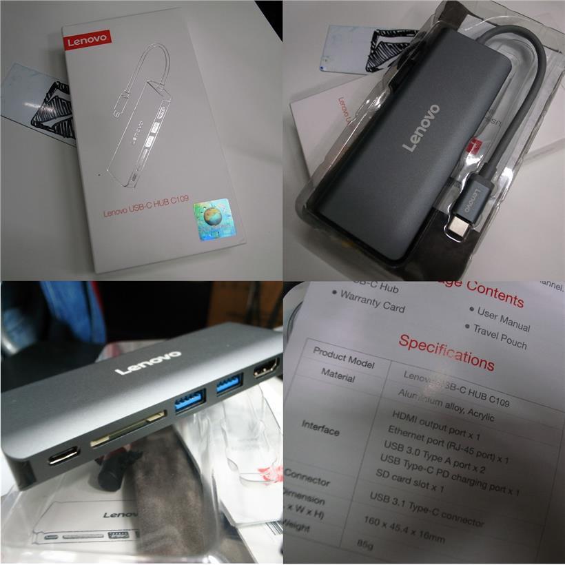 Lenovo TYPE C Hub USB 3 0 HDMI Card Reader RJ45 Rm170