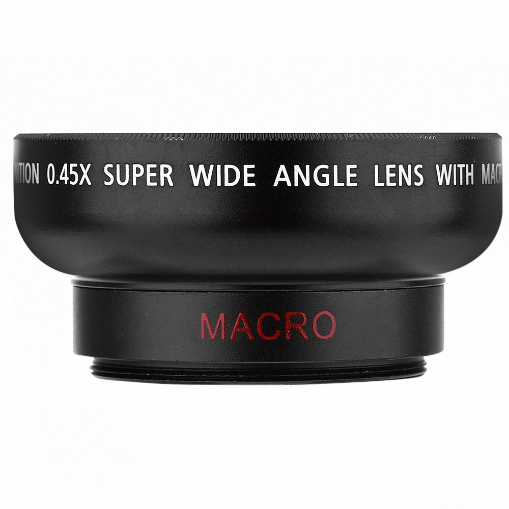 (LENS) HD 37MM 0.45X Wide Angle Macro Camera Lens [BLACK]