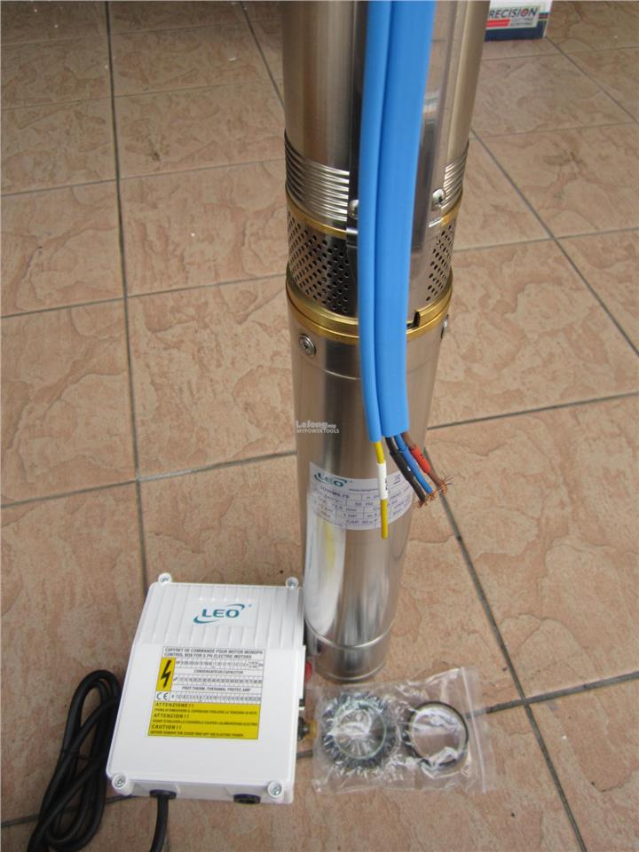 Leo 0.75kW (1.0HP) 3' Stainless Steel Submersible Tube Well Pump