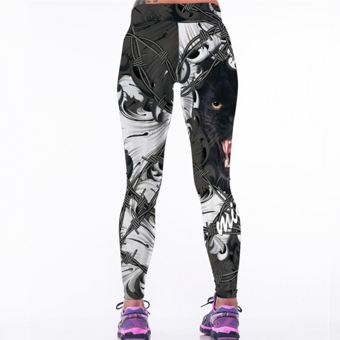 Leopard head digital printing yoga pants