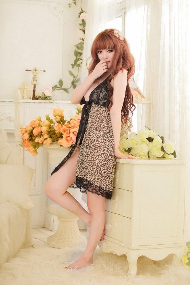 Leopard Lace Babydoll Long Dress + G-string  Sleepwear Lingerie