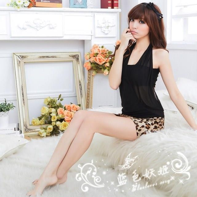 Leopard Tube Wrapped Ches Party Dress + G-string Lingerie Sleepwear