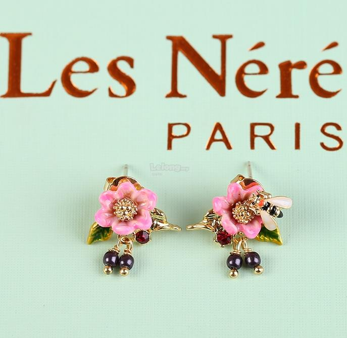 Les Nereides 2018 Oriental Roses With Bee And Charms Earrings