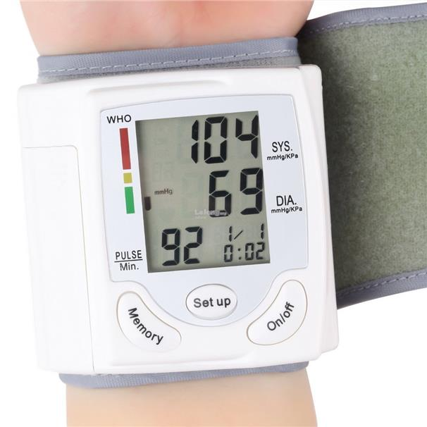 LESHP Digital LCD Wrist Blood Pressure Monitor Heart Rate Pulse Meter