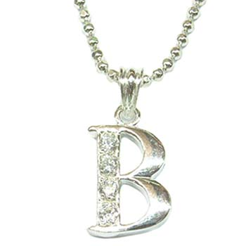 letter b silver necklace p6970bs