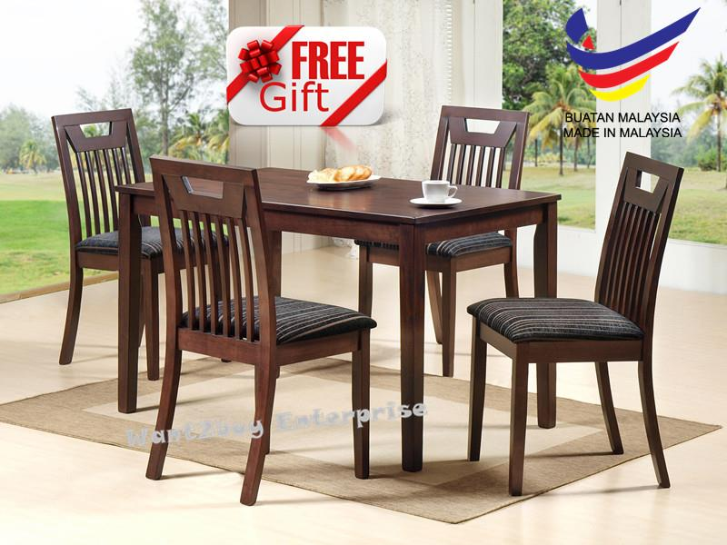 Lexus 4 Cushion Seat 1 Square Table Solid Wood Dining Chair Set